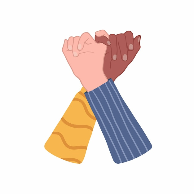 Twee mensen met verschillende huidskleur laten pinky zweren handgetekende liefde gekleurde vectorillustratie