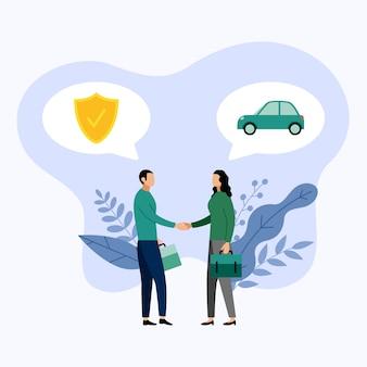 Twee mensen praten over autoverzekeringen, vectorillustratie