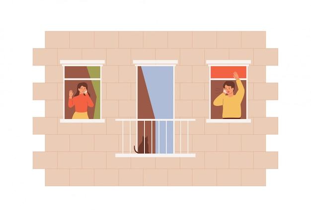 Twee mensen spreken mobiele telefoons die uit de aangrenzende ramen kijken. vrienden blijven thuis
