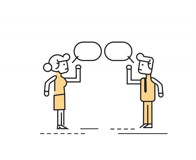 Twee mensen uit het bedrijfsleven praten en bespreken