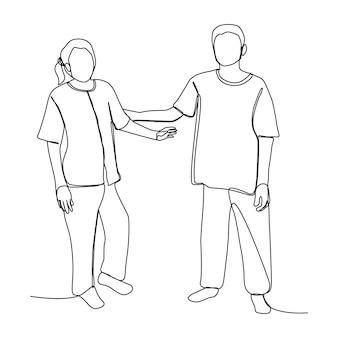 Twee mensen, vrouw en man groeten na een ontmoeting met één lijntekening concept. hand getekende lijntekeningen met lifestyle familie.