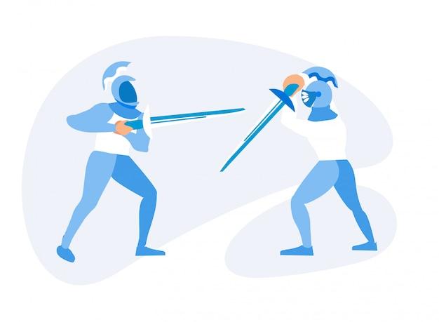 Twee middeleeuwse ridders vechten met zwaarden en harnassen