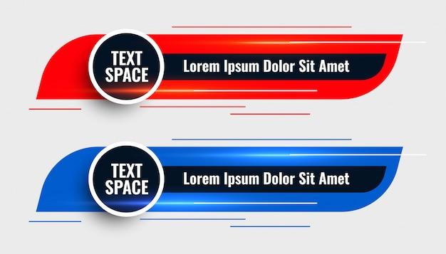 Twee moderne onderste derde sjabloon ontwerp banner