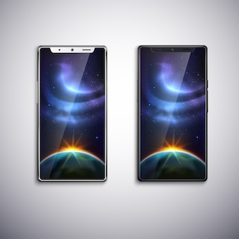 Twee moderne telefoons met alle schermen