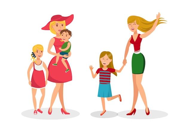 Twee moeders met kinderen platte vectorillustratie