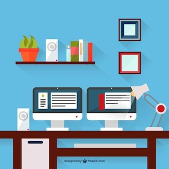 Twee monitoren bureau vectorillustratie