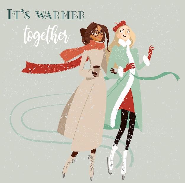 Twee mooie cartoonvrouwen schaatsen