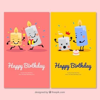 Twee mooie hand getrokken verjaardagskaarten met kaarsen