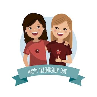 Twee mooie meisjes op de vriendschapsdag. voor altijd vrienden verenigd.
