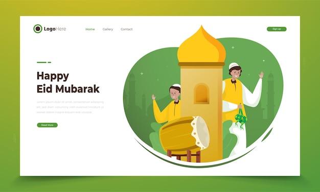 Twee moslimkarakter voor eid mubarak-groetenconcept