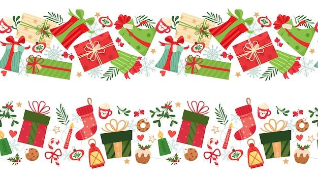 Twee naadloze patronen met kerstcadeaus en elementen.