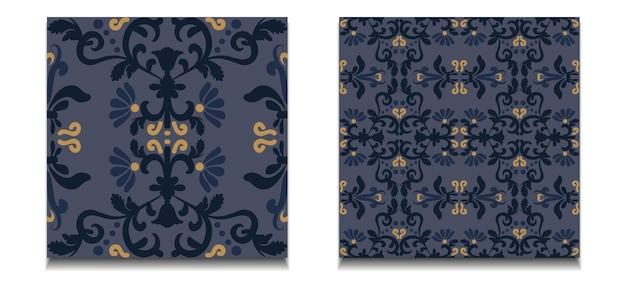 Twee naadloze patronen van bloemmotiefstalen vector vintage decoratief ornament blauw geel