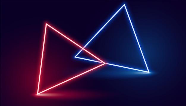 Twee neon driehoek in rode en blauwe kleuren