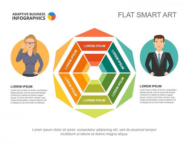 Twee ondernemers verwerken grafieksjabloon voor presentatie. visualisatie van bedrijfsgegevens.