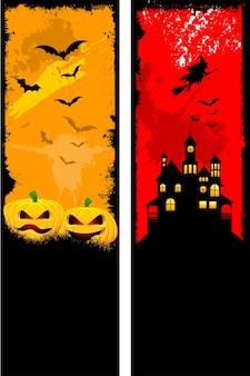 Twee ontwerpen van grunge stijl halloween banner set