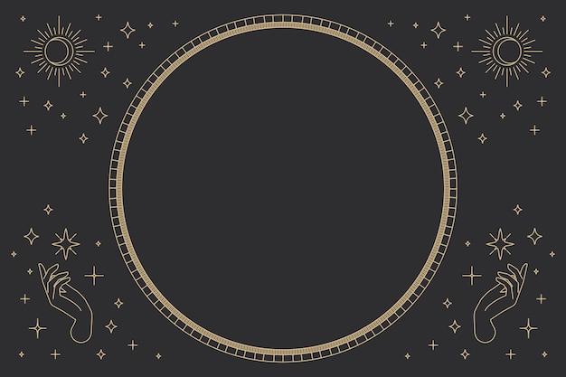 Twee open handen vector ronde frame lineaire stijl op zwarte achtergrond