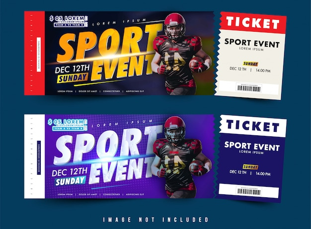 Twee optie ticket of voucher ontwerp vector, sportevenement met thema met eenvoudige lay-out