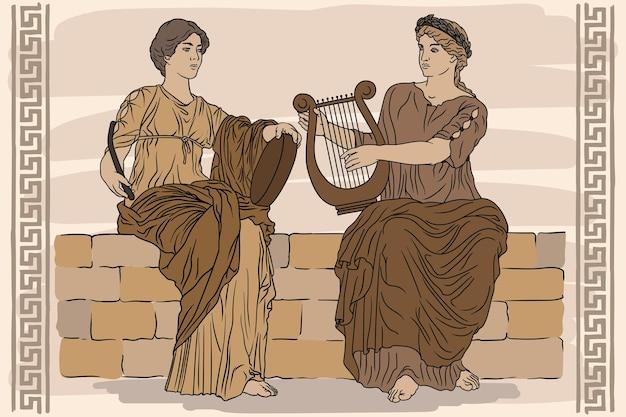 Twee oude griekse vrouwen met lauwerkransen op hun hoofd en met harpen en tamboerijn in hun handen spelen muziek.
