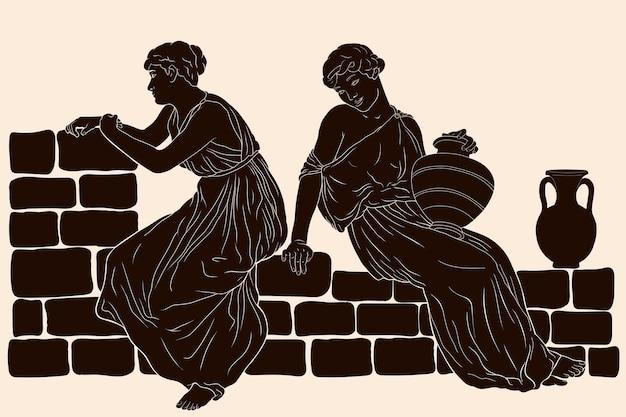 Twee oude griekse vrouwen zitten met kruiken op een stenen borstwering en voeren een gesprek.
