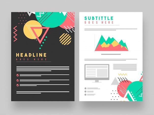 Twee pagina's corporate brochure met abstracte geometrische elementen.