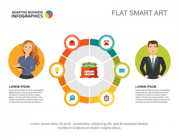 Twee partners verwerken grafieksjabloon voor presentatie. visualisatie van bedrijfsgegevens.
