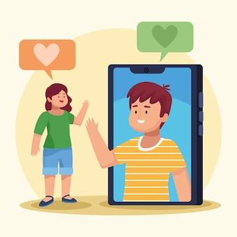 Twee personen in virtuele vergadering
