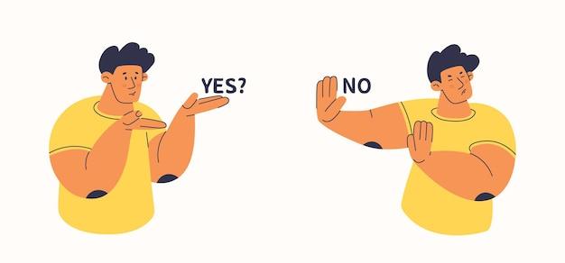 Twee personen tonen aanbod en afwijzing weigering of stop voor elk aanbod