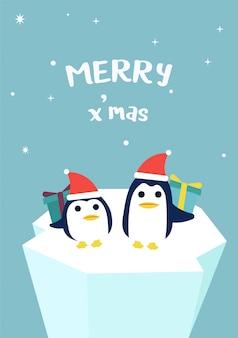 Twee pinguïn die de kerstman met giftdoos draagt