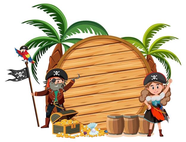Twee piraten stripfiguur met een lege banner geïsoleerd op een witte achtergrond