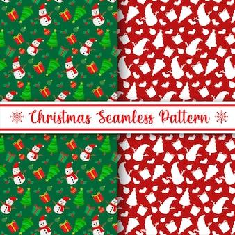 Twee plat naadloos herhalend kerstpatroonontwerp