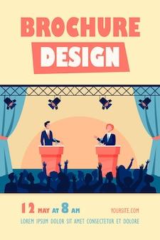 Twee politici die deelnemen aan politieke debatten voor een geïsoleerd flyer-sjabloon van het publiek