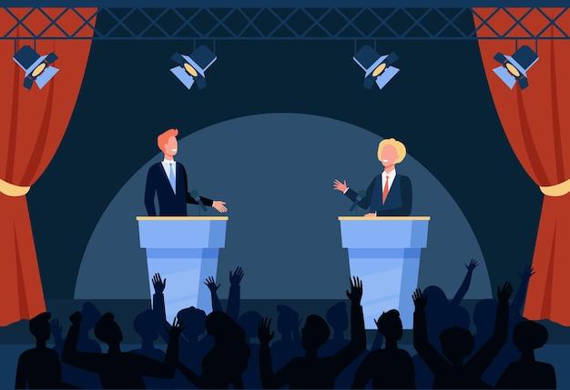 Twee politici die deelnemen aan politieke debatten voor publiek geïsoleerde vlakke afbeelding
