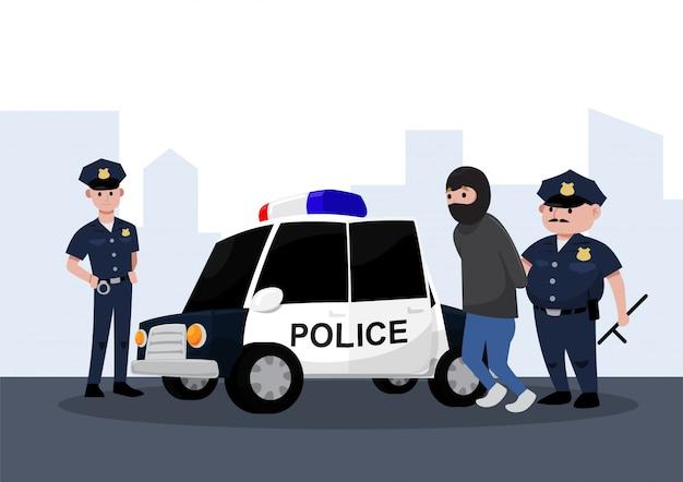Twee politieagenten arresteren een crimineel in een politie-auto, platte cartoon stijl.
