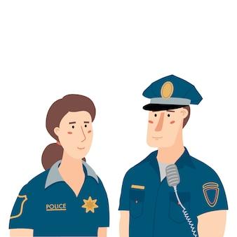 Twee politieagenten, politieagent en politieagente in blauwe uniforme, platte cartoon vectorillustratie geïsoleerd