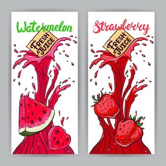 Twee prachtige banners. vers sap. watermeloen en aardbeien. handgetekende illustratie