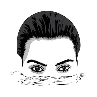 Twee prachtige ogen van een mooi meisje dat uit het water gluurt vectorillustratie in zwart-wit