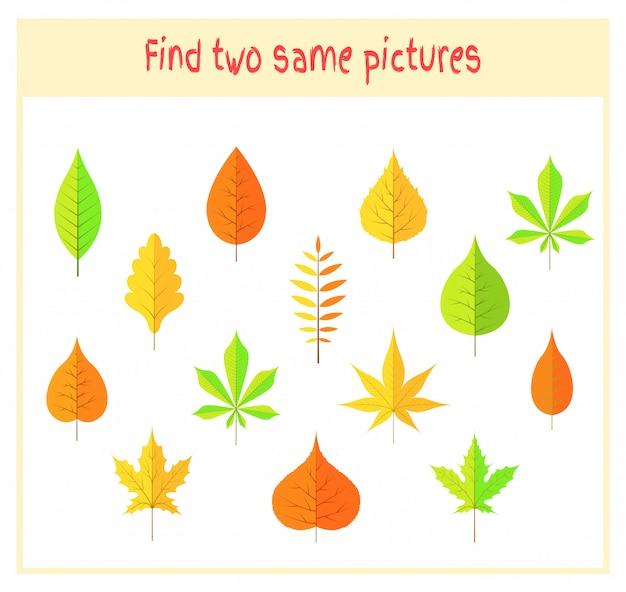 Twee precies dezelfde afbeeldingen vinden educatieve activiteit voor kleuters