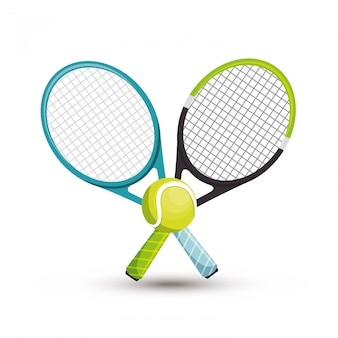 Twee racket tennisbal illustratie