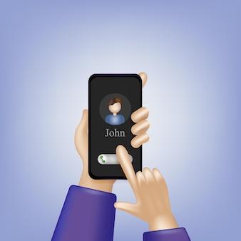 Twee realistische handen met een telefoon die op een blauwe vectorillustratie wordt geïsoleerd als achtergrond