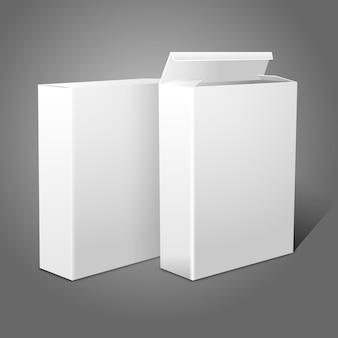 Twee realistische witte blanco papieren pakketten voor cornflakes, muesli, granen enz. geïsoleerd op grijs