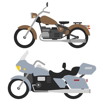 Twee retro motoren op witte, vintage motorfiets