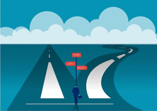 Twee richtingen concept. begin reisavonturen en kansen