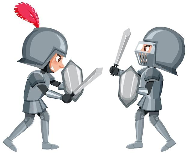 Twee ridders vechten op een witte achtergrond