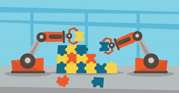 Twee robotarmen die een kleurrijke puzzel bouwen.