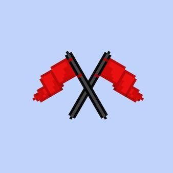 Twee rode vlag gekruist met pixel art-stijl