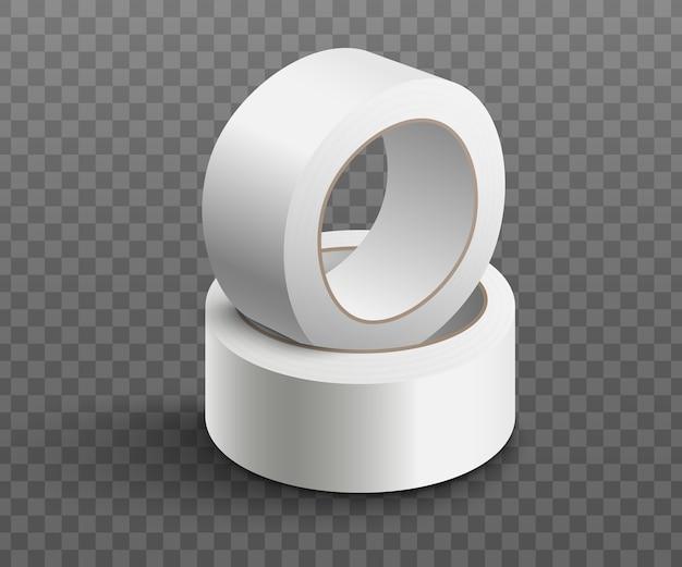 Twee rollen witte plakband op elkaar gestapeld - realistisch