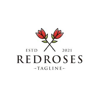 Twee rozen bloemen logo sjabloon Premium Vector