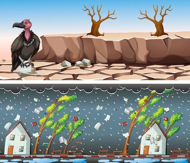 Twee scènes met droogte en regenbui