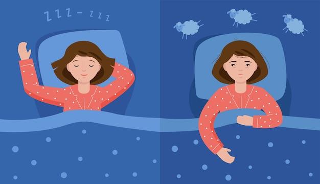 Twee scènes met normale slaap en slapeloosheid een meisje in roze pyjama ligt in bed en kan niet slapen