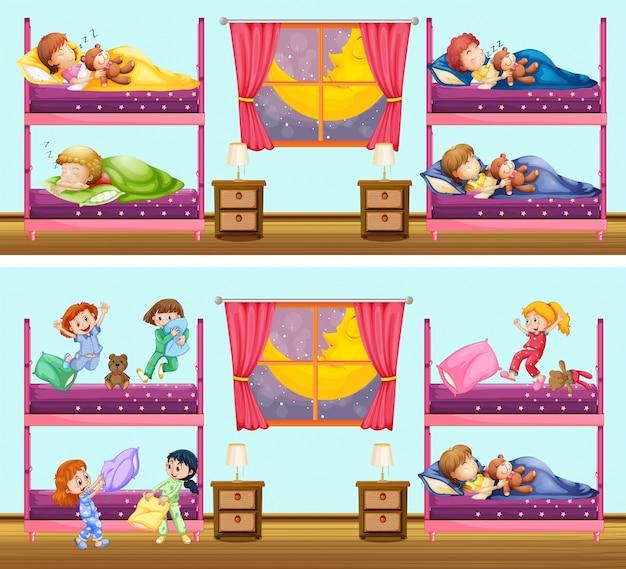 Twee scènes van kinderen in slaapkamers